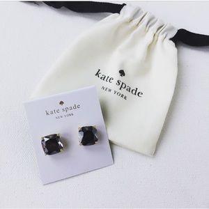 New Kate Spade Small Square Enamel Studs in Black